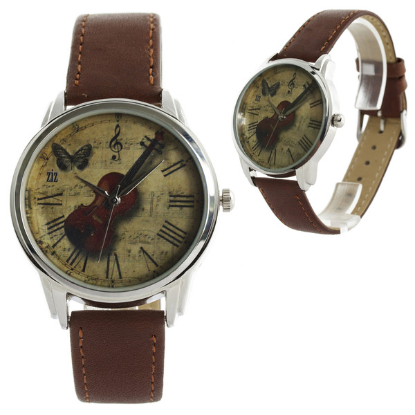 jewels watch watch unusual watch unique watch designer watch leather watch brown violin romantic watch beautiful watch ziz watch ziziztime