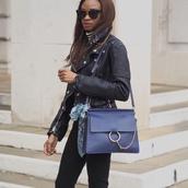 symphony of silk,blogger,jeans,jacket,shoes,bag,chloe faye bag,chloe bag,blue bag,shoulder bag,black leather jacket,leather jacket,black jacket,sunglasses,black sunglasses