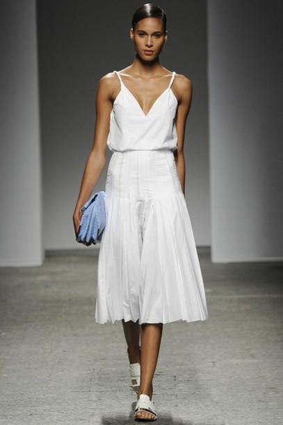 tank top ports 1961 white dress summer white dress summer dress midi midi skirt midi dress