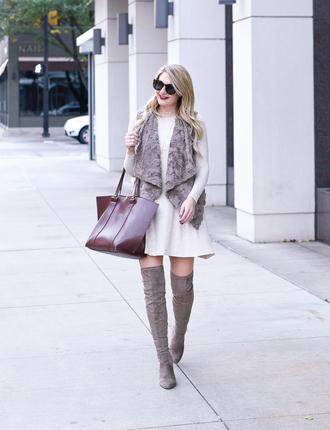 visions of vogue blogger jacket dress shoes jewels sunglasses vest faux fur vest fall outfits mini dress thigh high boots handbag