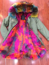 coat,multi,coloured,fur,faux,racoon,lined,hood