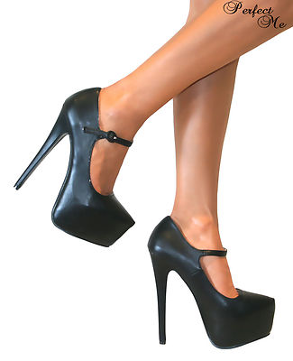 KOI COUTURE BLACK LEATHER LOOK MARY JANE PLATFORM EXTREME STILETTO HEELS