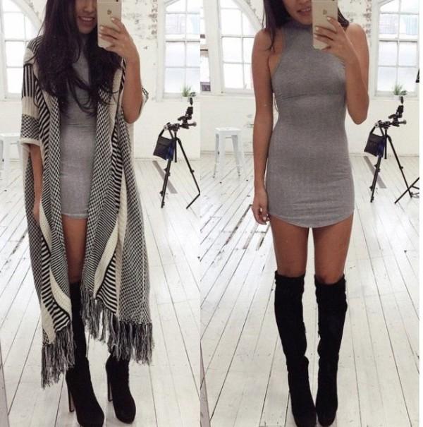 Dress, Grey Sweater, Grey, Mini Dress, Bodycon Dress