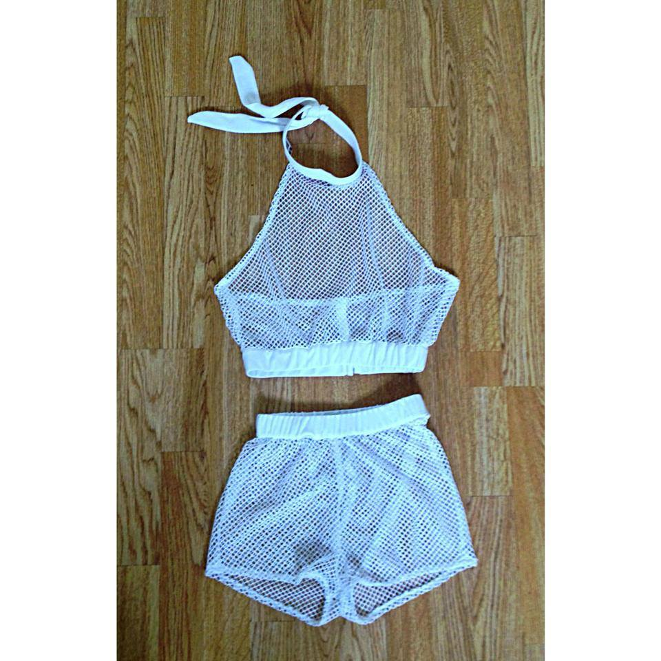 Fashion Summer Trends Black and White Shorts See Through Outfit Two Piece Set Mesh Top Crop Tops Sporty Athletic LQ4495-in Dresses from Apparel & Accessories on Aliexpress.com