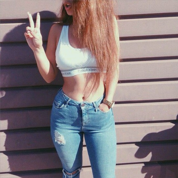 caf6a896568 jeans high waisted jeans high waisted distressed jeans torn pants torn denim  high waisted pants crop