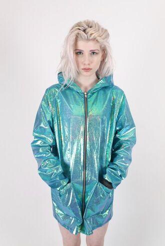 jacket holographic teal jacket blue turquoise holographic turquoise tumblr holographic jacket iridescent green