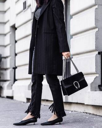 coat tumblr black coat stripes striped top top denim jeans black jeans frayed denim frayed jeans bag black bag gucci gucci bag dionysus shoes black shoes kitten heels glove heels