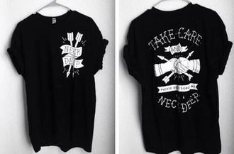 shirt bands neck deep black white t-shirt band t-shirt cotton band-shirt jacket tights top tank top jeans