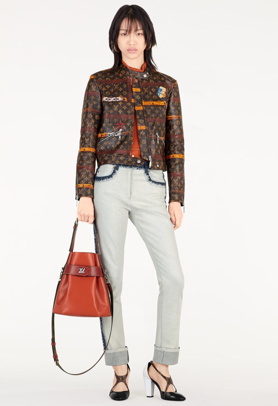 Trunk Print Leather Jacket