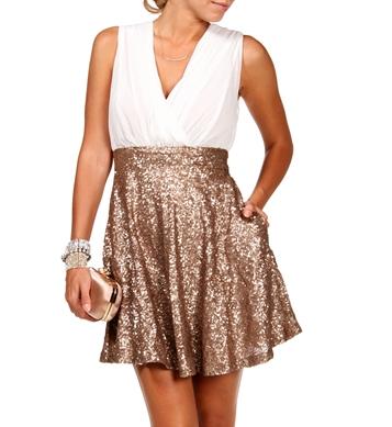 Ivory/Gold Sequin Skater Dress