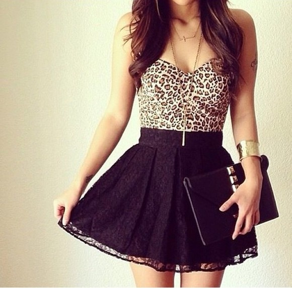 cheetah dress black highwaisted lace tank top skirt black mini skirt lace skirt , black skirt