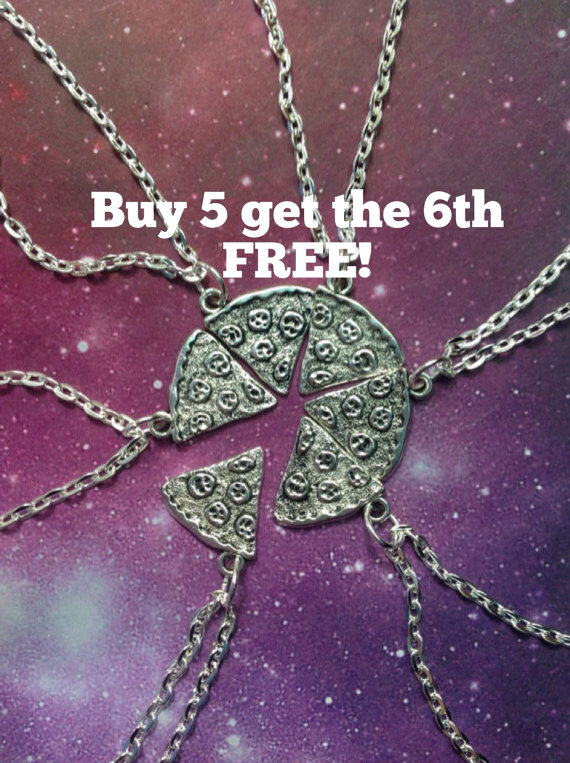 Pizza necklace BUY 5 slices Get One FREE by lotusfairy on Etsy