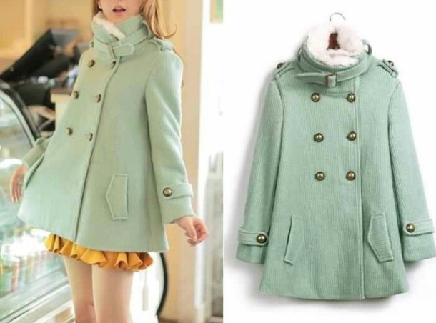 Coat: mint, winter coat, pea coat, fashion, fancy, new york city ...