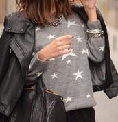 stars,grey sweater,black bag,sweater,bag,fine knit jumper