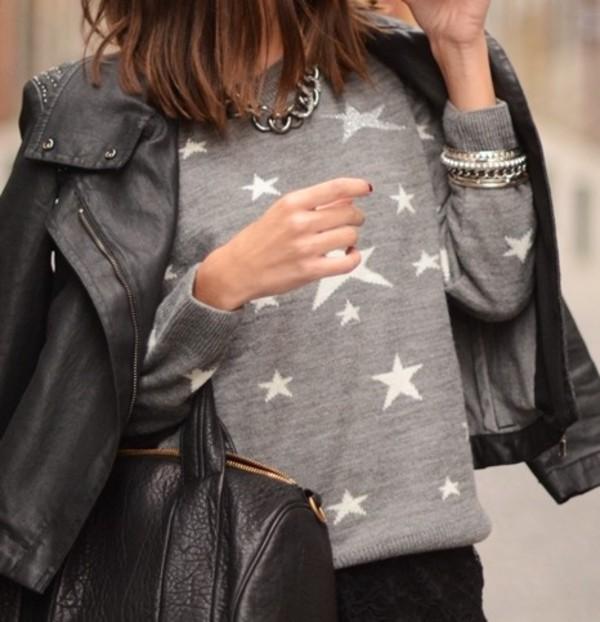 stars grey sweater black bag sweater bag fine knit jumper
