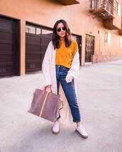 bag,handbag,suede bag,maxi bag,jeans,sneakers,white sneakers,high waisted jeans,yellow top,cardigan,knitted cardigan,long cardigan,sunglasses