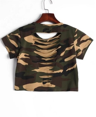 top girly ripped crop tops crop camouflage