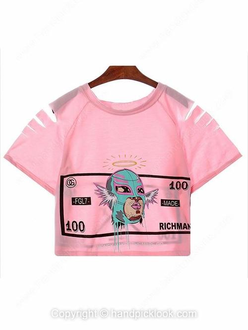 Pink Short Sleeve 100 Richman Print Crop T-Shirt - HandpickLook.com