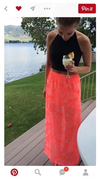 skirt coral maxi skirt black top