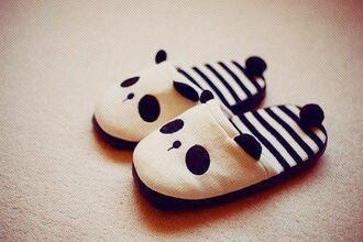 shoes panda slippers white black stripes cute black and white weheartit lovely ears