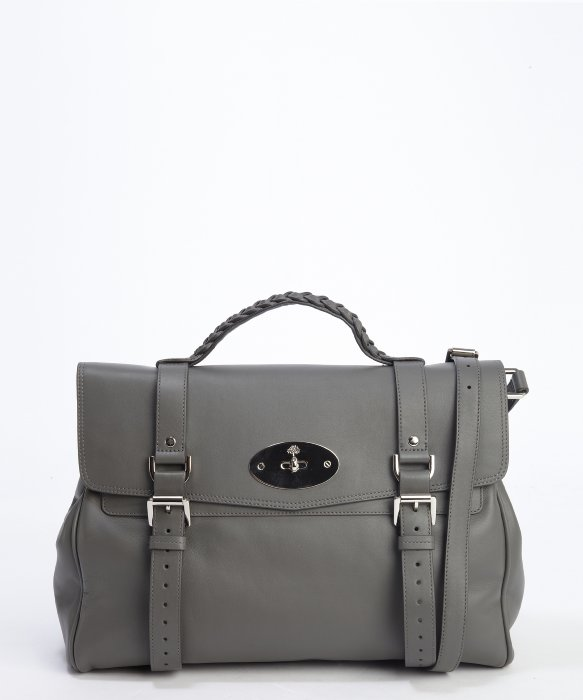 Mulberry pavement grey leather top handle