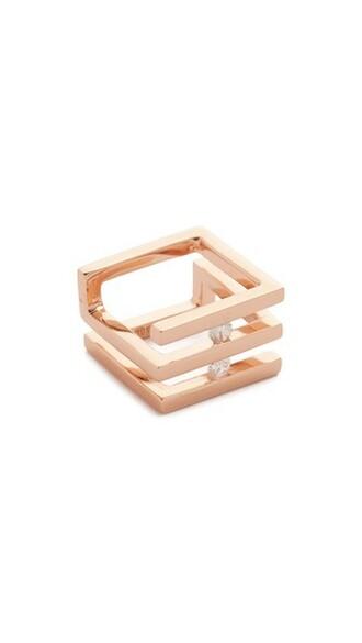 geometric ring gold pink jewels