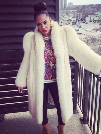coat stephanie santiago fur white fur white fur coat sexy winter outfits winter jacket hot winter coat bad bitch