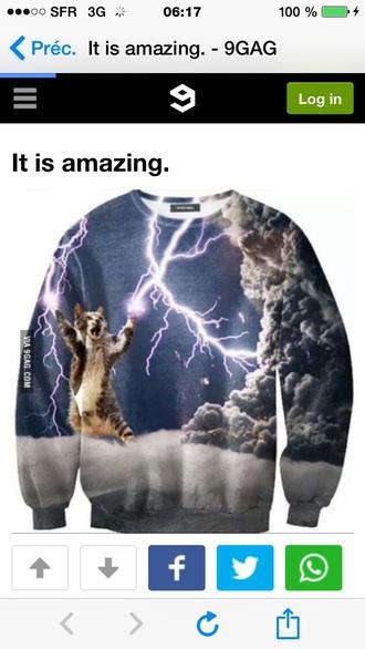 sweater cat sweater lighting pullover