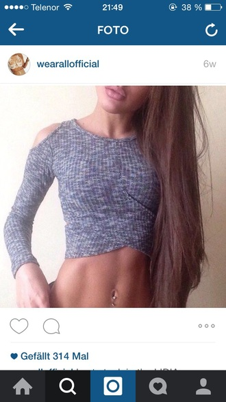shirt pullover cropped sweater grey sweater