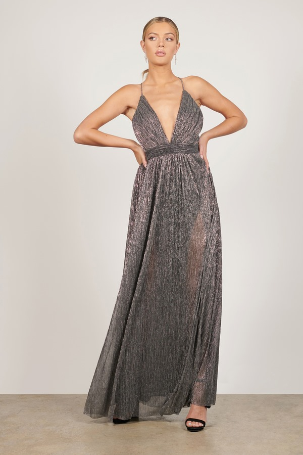 Penny Silver Pleated Maxi Dress