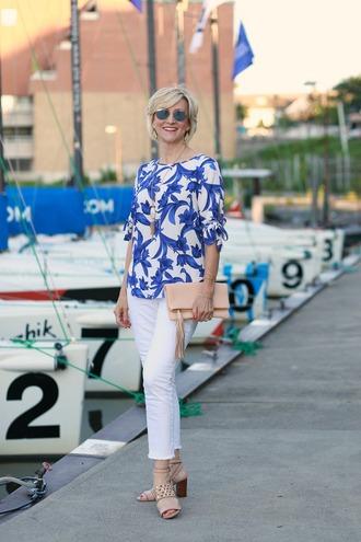 fabulousafter40 blogger top jeans blouse shoes jewels bag