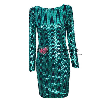 Fashion wavy green sequins. geometry halter dress · fe clothing · online store powered by storenvy