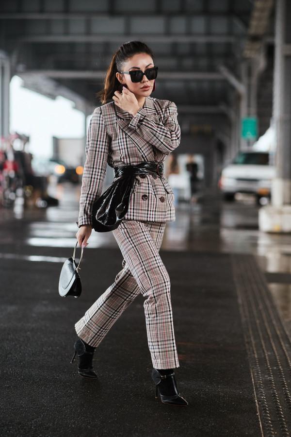 not jess fashion blogger jacket pants shoes bag sunglasses suit pumps blazer checkered checkered pants check blazer