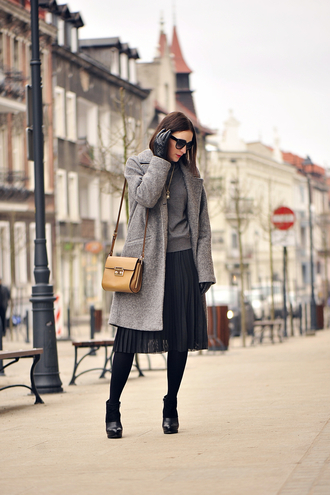 shiny sil blogger gloves tights grey coat pleated skirt coat skirt top sweater bag sunglasses jewels shoes