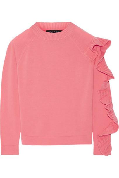 Paper London - Montana Ruffled Merino Wool Sweater - Pink