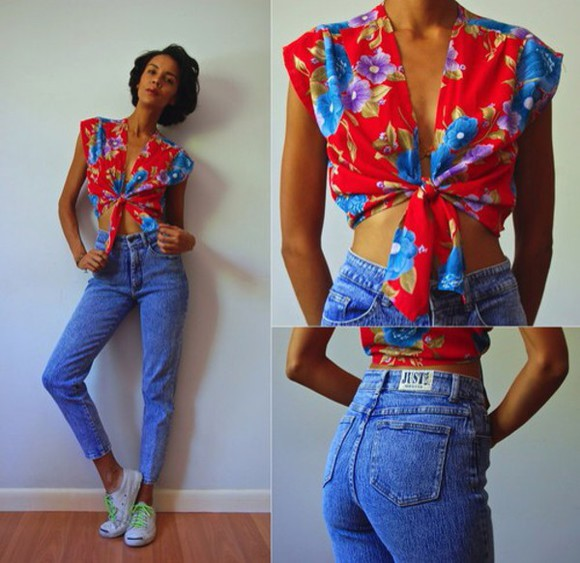90210 tumblr clothes fashion jeans style clothes classy 90s style old school red floral shirt tumblr outfit tumblr girl purple dress blue shirt