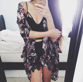 blouse shirt coat sweater cardigan jacket outerwear black kimono oufit outfit summer outfits purple floral kimono high waisted shorts high waisted black crop too black crop top floral tank top strappy skirt komono romper floral cardigan chic hippie indie boho bohemian country
