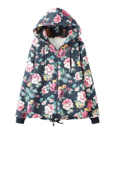 Floral print zipper fly hoodie with drawstring hem