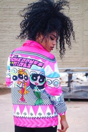 jacket,pinl,pink,the powerpuff girls,multicolor