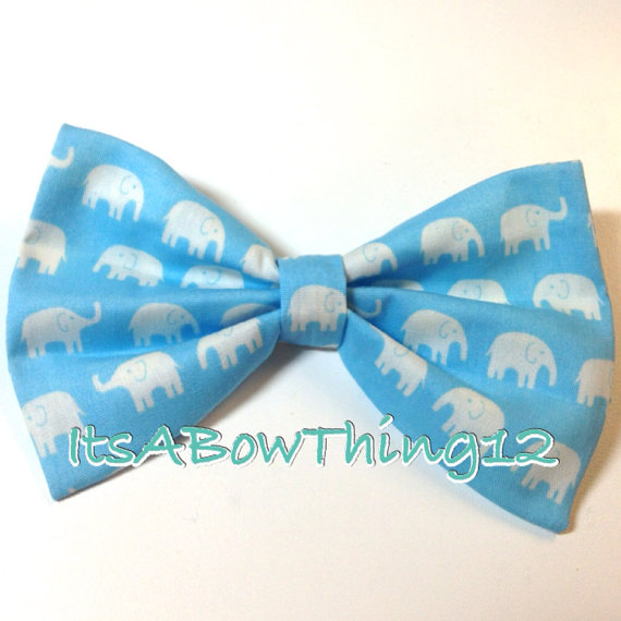Daiwabo Sky Blue and White Elephants Bow by ItsABowThing12 on Etsy