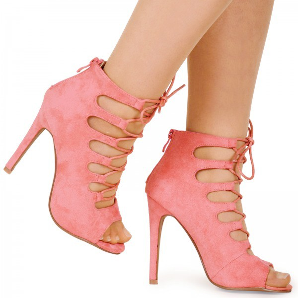 Candy Pink Faux Suede Lace Up Heel Sandals