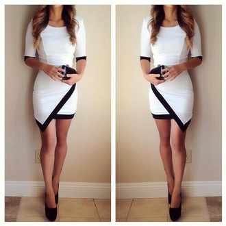 dress white black classy party dress pretty dress sexy dress
