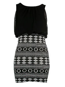 New Womens New Black Aztec Skirt Ladies Party Dress 6-18 | eBay