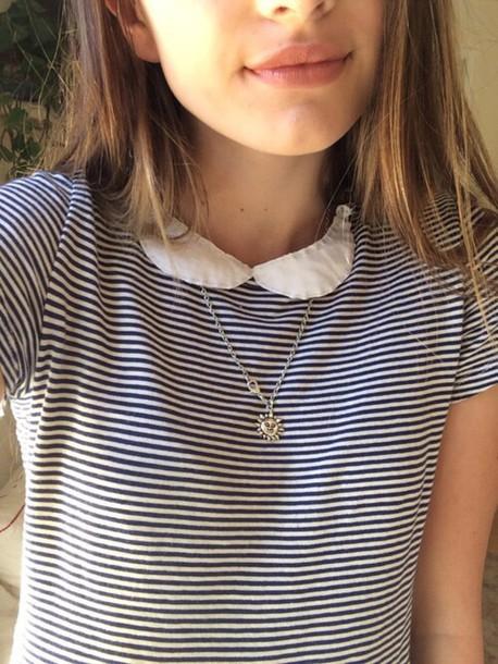 shirt stripes collar black white