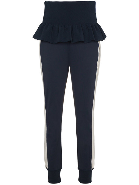 Ganni pants track pants high waisted high women spandex blue