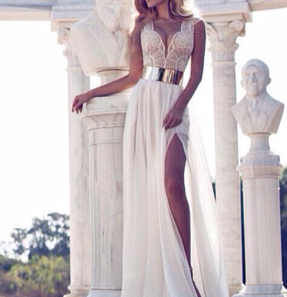 deep v neck white dress slit dress lace strap