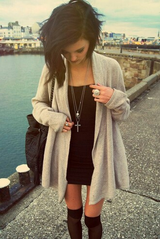 cardigan grey gray sweater long thick sweater flowy