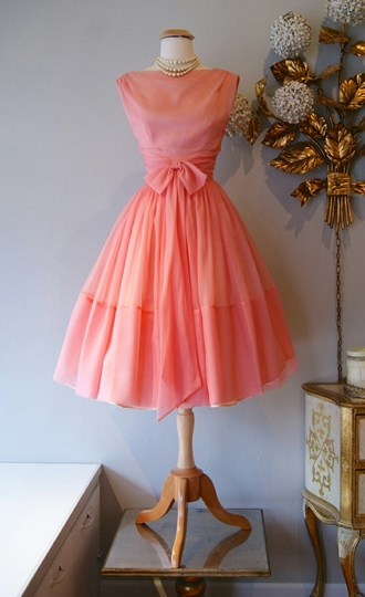 dress coral coral dress coral prom dress vintage 50s style