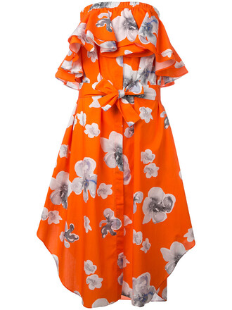 dress women floral cotton yellow orange
