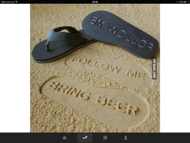 shoes flip-flops beer footprint